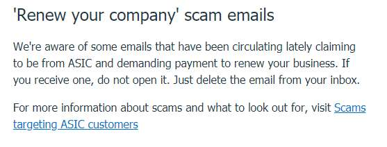 ASIC Scam Emails Notice